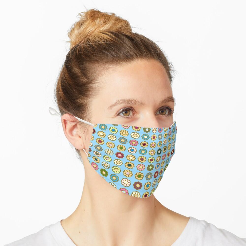 Masque «Parterre de fleurs, fond bleu, hippie style»