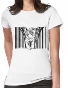 endangered TIGER BARCODE illustration Womens Fitted T-Shirt