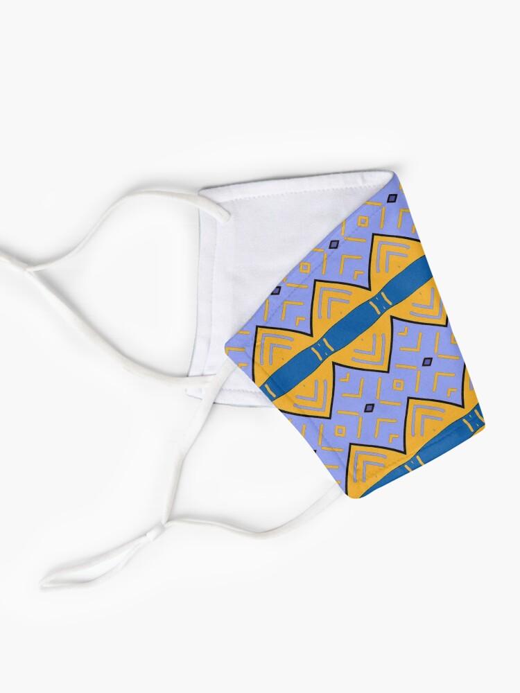 Masque ''Motif tribal, bleu  et jaune': autre vue