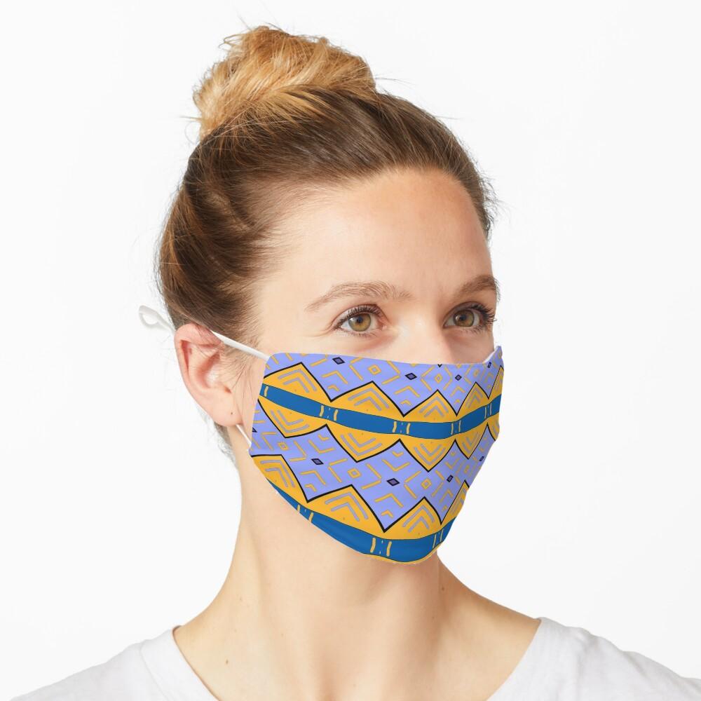Masque «Motif tribal, bleu  et jaune»