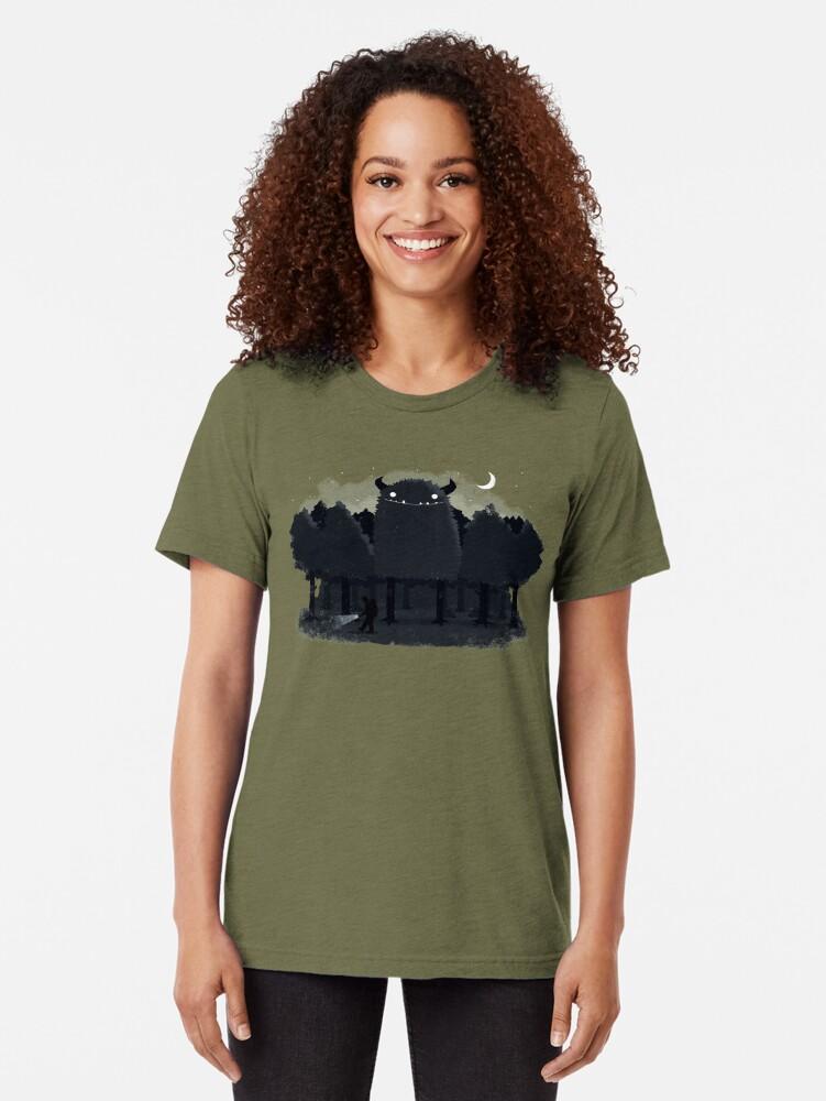 Alternate view of Monster Hunting Tri-blend T-Shirt