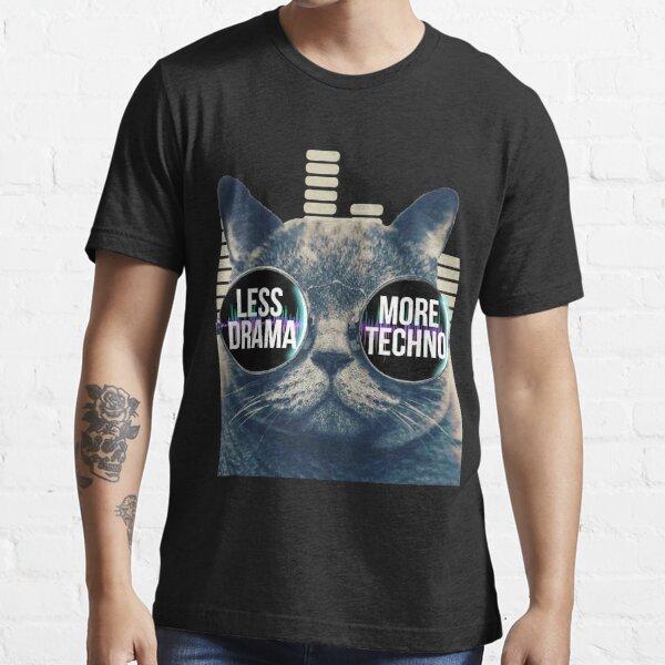 Menos drama Más Techno Camiseta Techno Beats Gafas de sol Gato Camiseta esencial