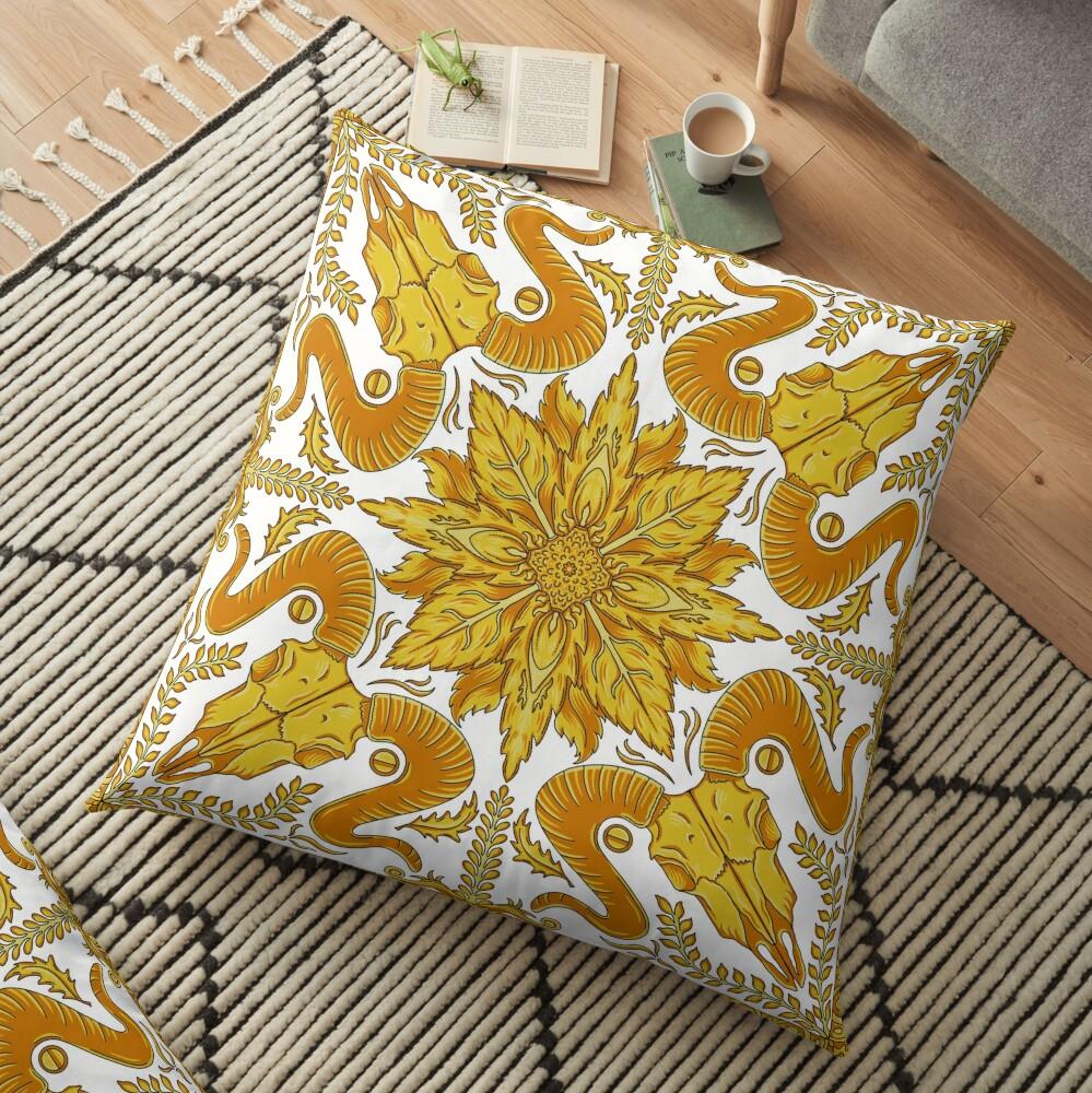Designer Skull - White Floor Pillow