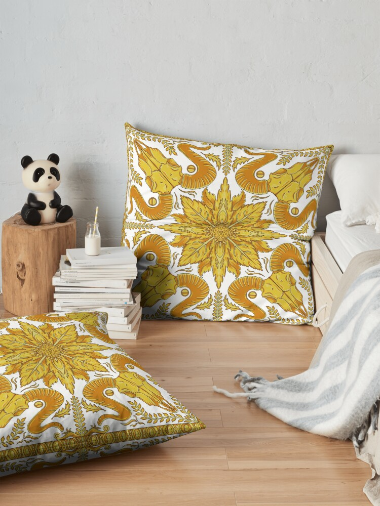 Alternate view of Designer Skull - White Floor Pillow