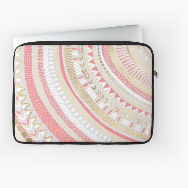 Coral + Gold Tribal Laptop Sleeve