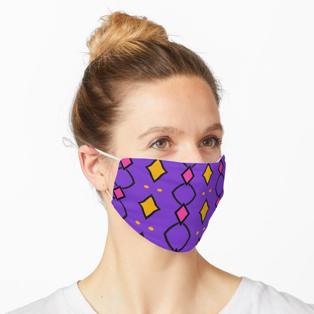 Masque «Losanges jaunes et roses sur fond violet»