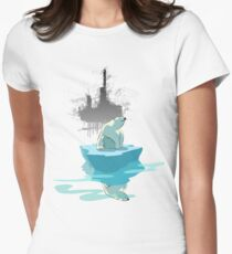 global warming illustration / print : NEED MORE ICE NOT OIL Womens Fitted T-Shirt