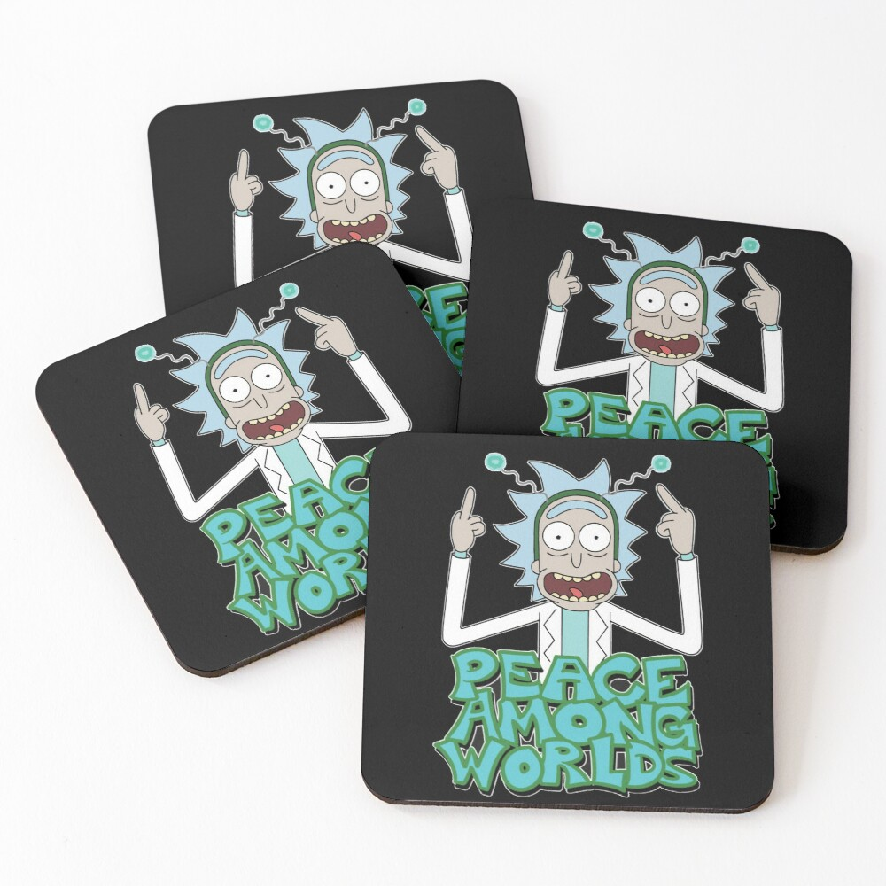 "Rick and Morty ""Peace Among Worlds"" Coasters (Set of 4)"