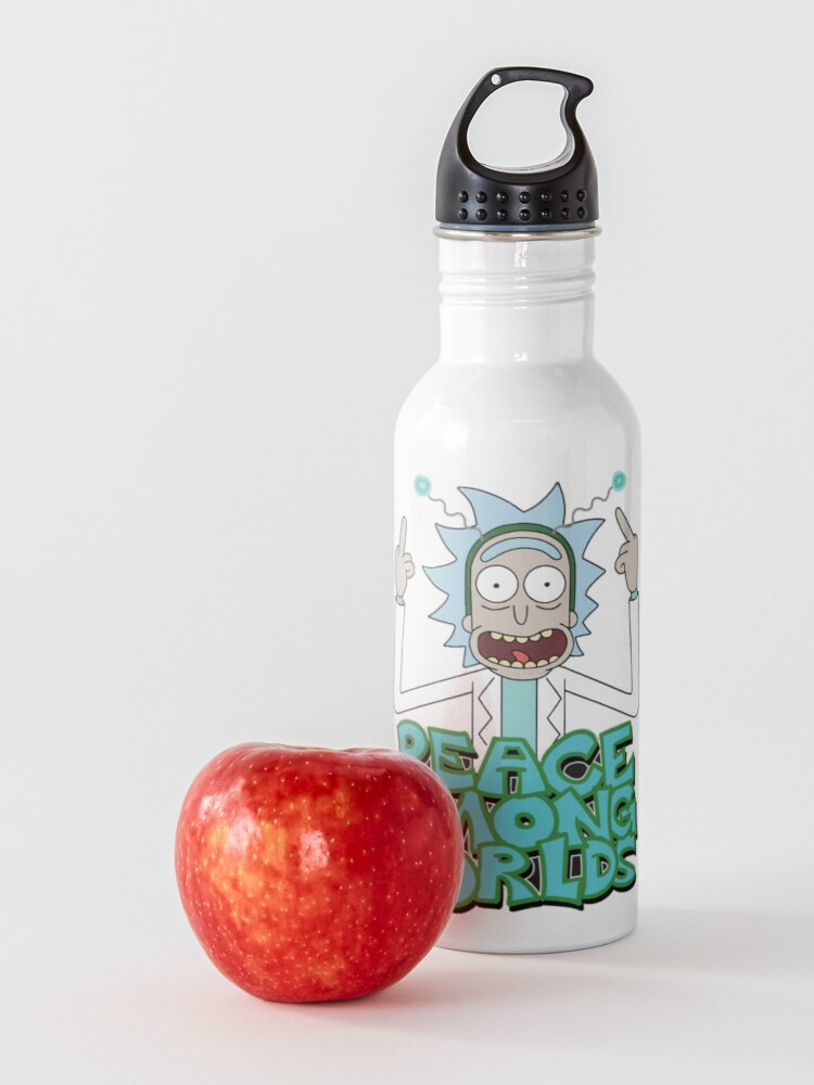"Alternate view of Rick and Morty ""Peace Among Worlds"" Water Bottle"