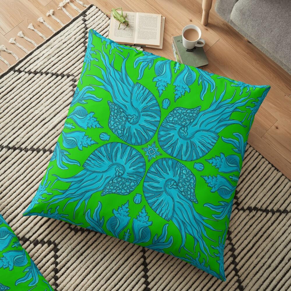 Designer Nautilus - Green/Blue Floor Pillow