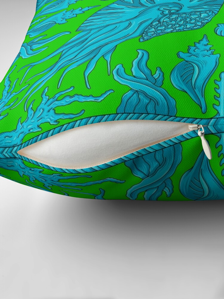 Alternate view of Designer Nautilus - Green/Blue Floor Pillow