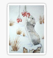 Cute mouse and red berries snow scene wildlife art   Sticker