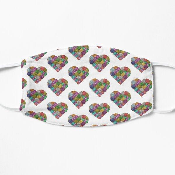 Yarnaholic yarn heart shape shirt Flat Mask