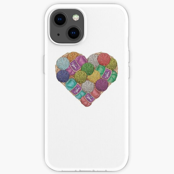 Yarnaholic yarn heart shape shirt iPhone Soft Case