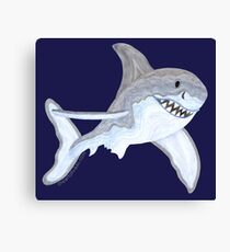 Great White Shark Fanciful Aquatic Watercolor Canvas Print