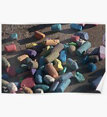 Rainbow of chalk Poster