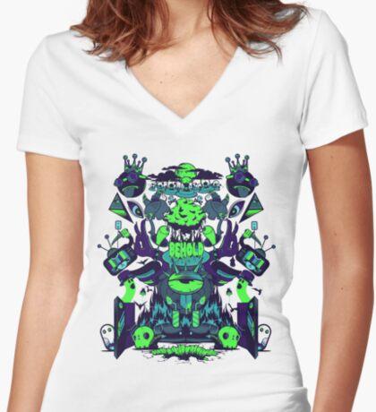 BEHOLD! Obsidian Women's Fitted V-Neck T-Shirt