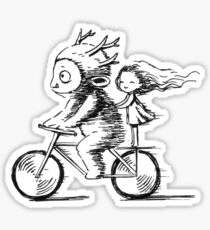 Girl and a monster on a bike Sticker