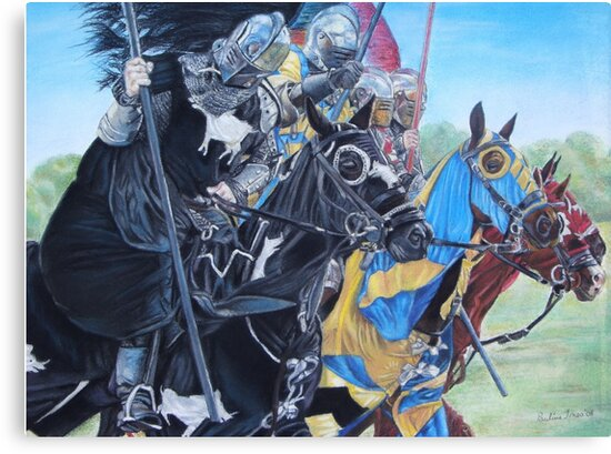 jousting Knights on horses historic realist art  by pollywolly