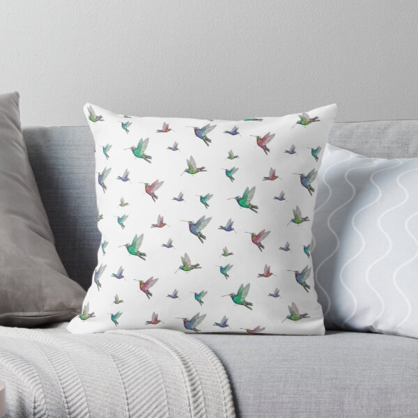 Humming Birds on White (PCD3176) Throw Pillow