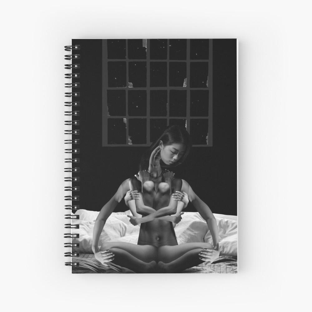 Acceptance Hug - metamorphosis, black and white, collage art Spiral Notebook