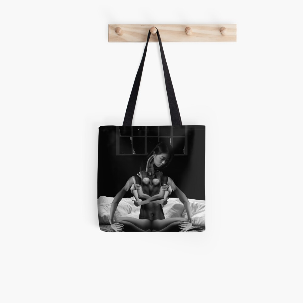 Acceptance Hug - metamorphosis, black and white, collage art Tote Bag