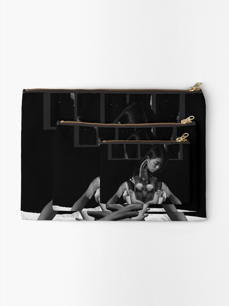 Alternate view of Acceptance Hug - metamorphosis, black and white, collage art Zipper Pouch