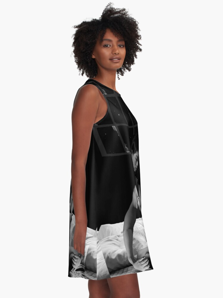 Alternate view of Acceptance Hug - metamorphosis, black and white, collage art A-Line Dress