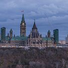 Canada's Parliament building at dusk by Josef Pittner