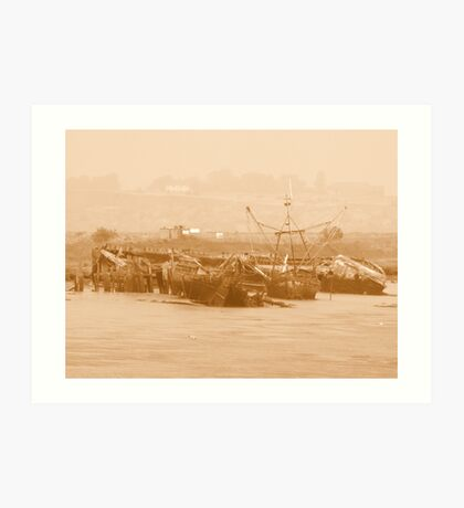 Wrecks at Faversham Creek Art Print
