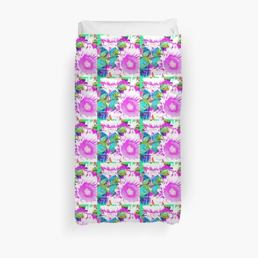 Flower Lovers Gift - Neon Bouquet Design Duvet Cover