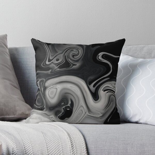 black and gray marble Throw Pillow