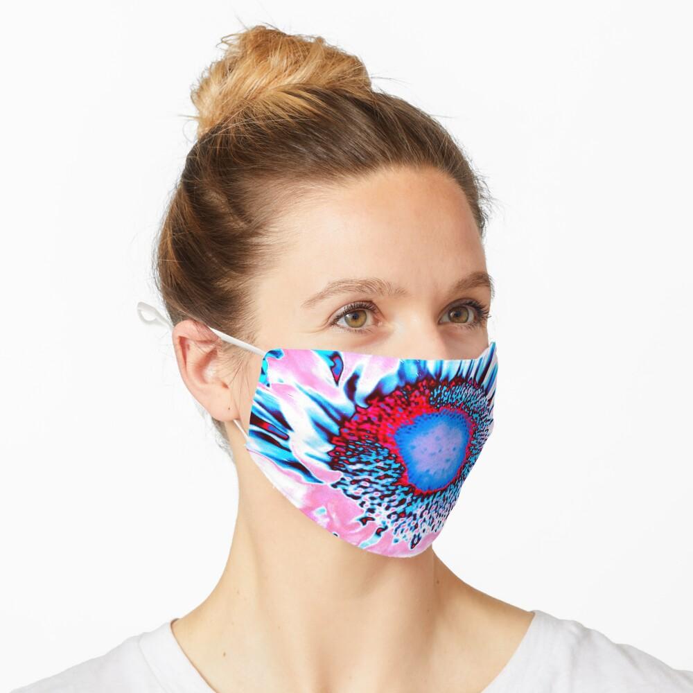 Iced Sunflower - Pink Purple White Blue Flower - Floral Design Mask
