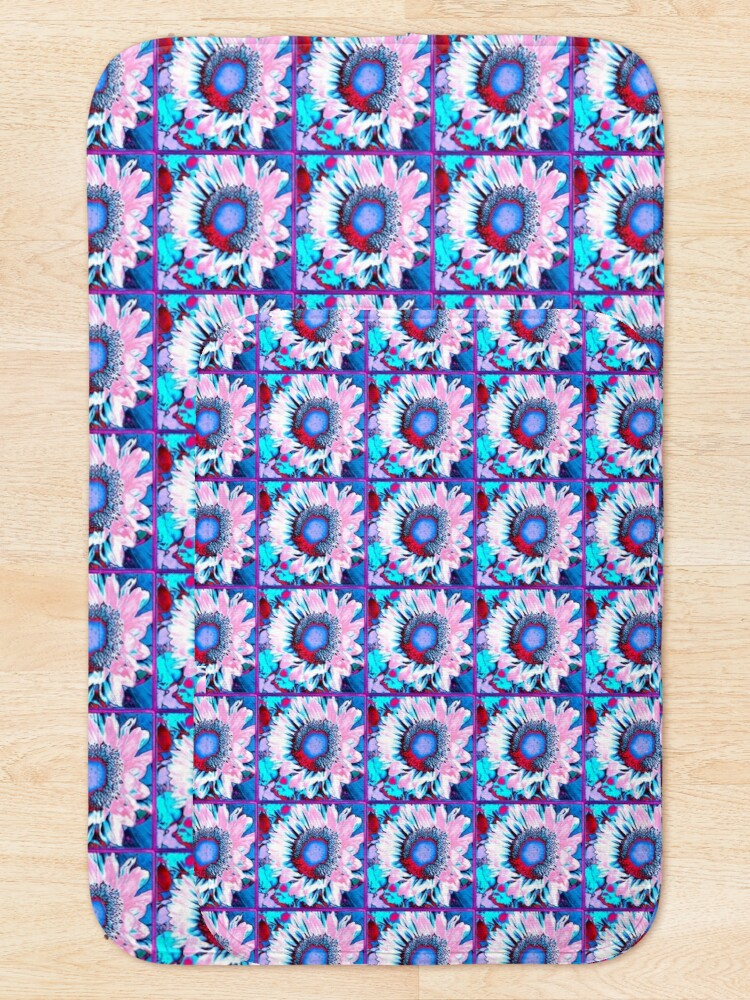 Alternate view of Iced Sunflower - Pink Purple White Blue Flower - Floral Design Bath Mat