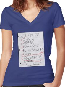 Alien Invasion Checklist Women's Fitted V-Neck T-Shirt