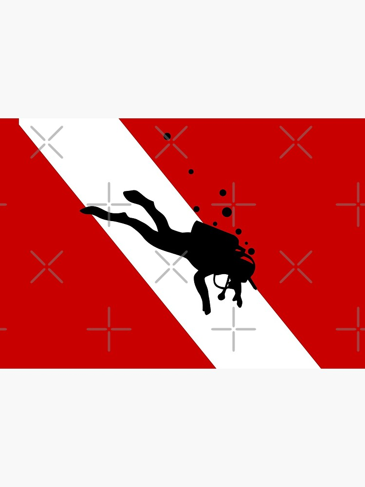 Scuba Dive Flag Bubble Red White by TeeCreations
