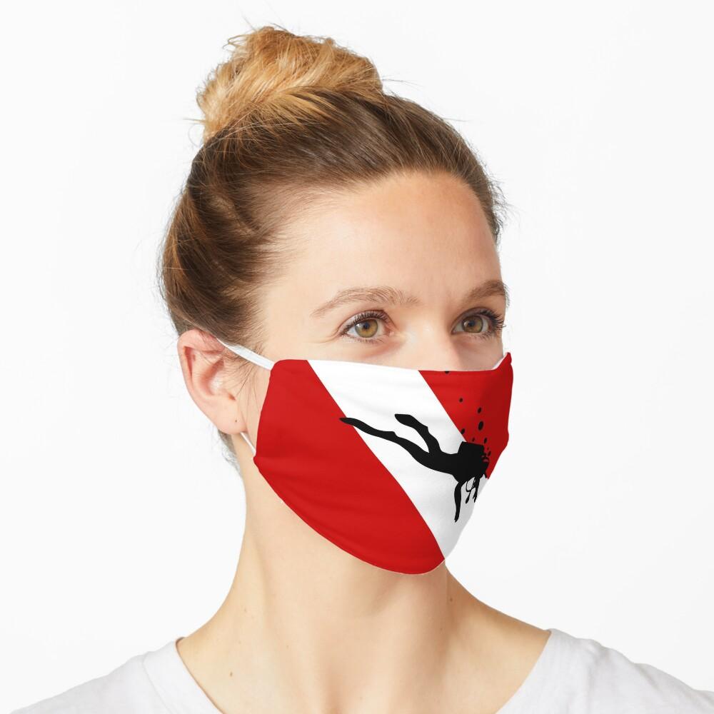 Scuba Dive Flag Bubble Red White Mask