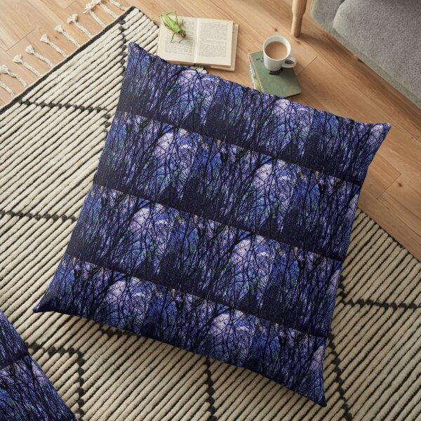 Dark Purple Forest - Purple Blue and Black Bare Tree Landscape Floor Pillow