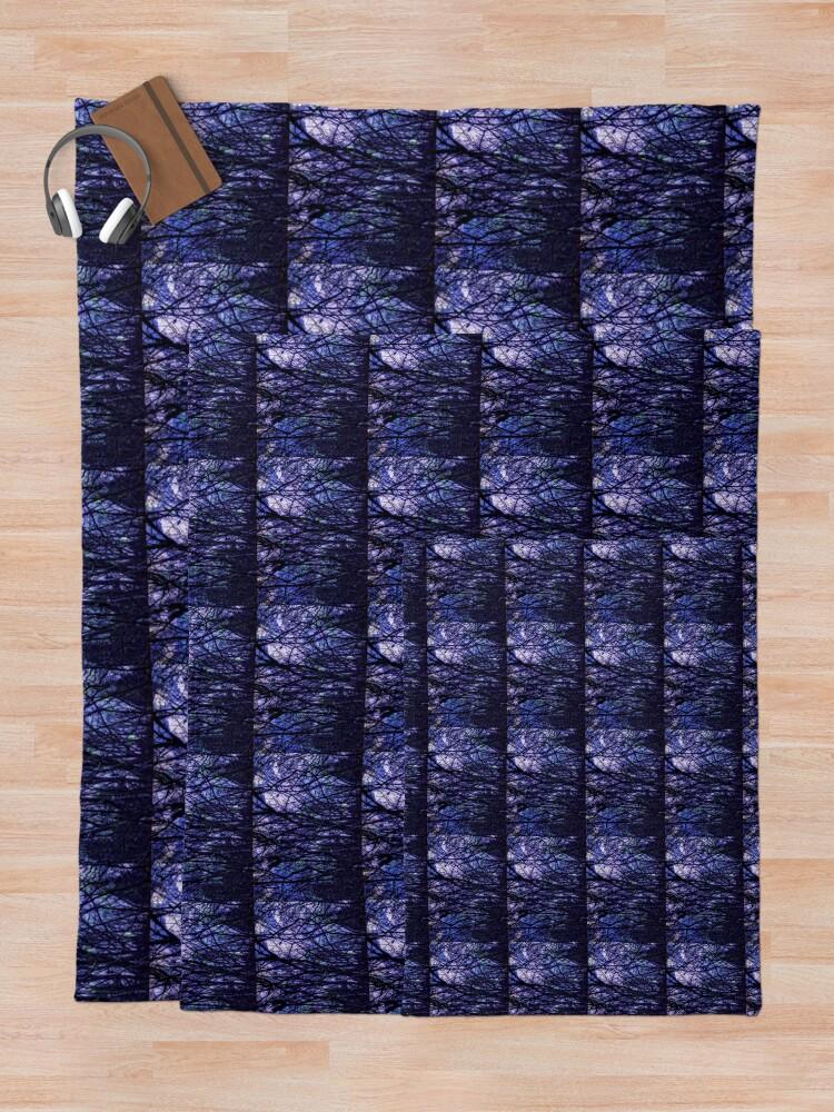 Alternate view of Dark Purple Forest - Purple Blue and Black Bare Tree Landscape Throw Blanket