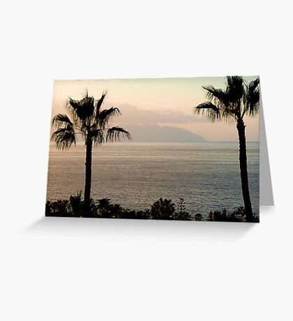 Sunset over Los Gigantes and La Gomera Greeting Card