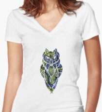 Owl Mosaic Blue / Green  Women's Fitted V-Neck T-Shirt