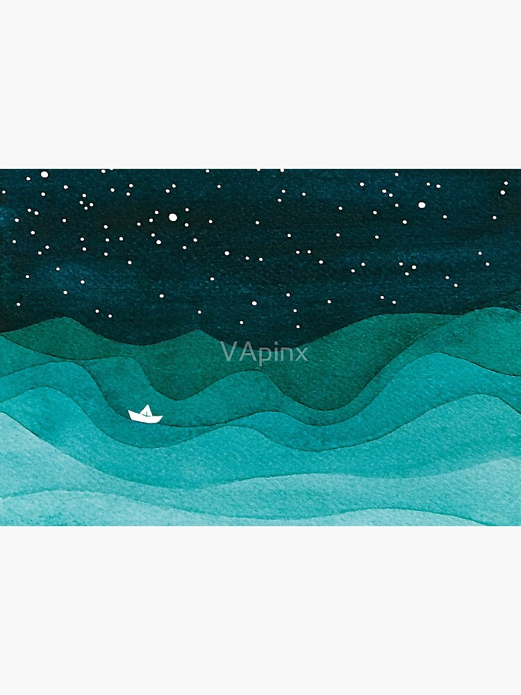 Starry Ocean, teal sailboat watercolor sea waves night by VApinx