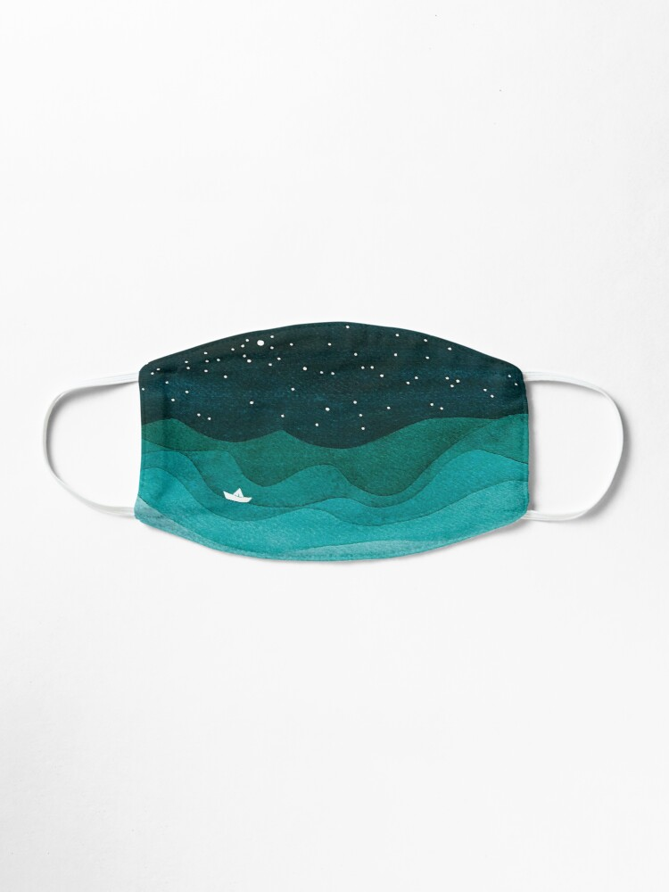 Alternate view of Starry Ocean, teal sailboat watercolor sea waves night Mask