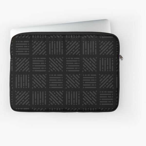 Squares and Lines Black on Black Laptop Sleeve