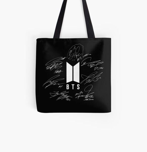 BTS - Logotipo con nuevas firmas 2020 (negro) Bolsa estampada de tela