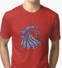 Lion Stripes Purple / Blue  Tri-blend T-Shirt