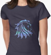 Lion Stripes Purple / Blue  Womens Fitted T-Shirt