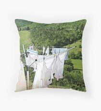Wash and dry on countryside Throw Pillow