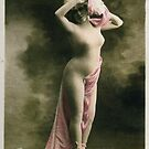 The Lady with a Mask -  Vintage French post card. by Ian A. Hawkins