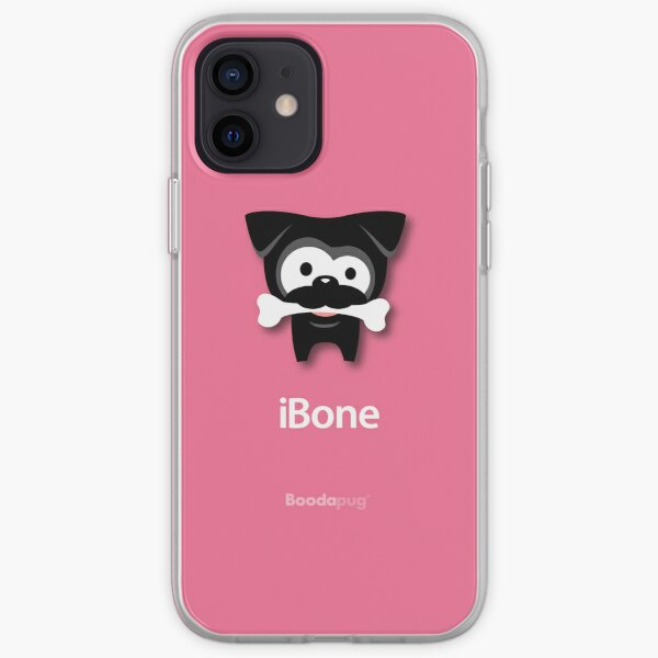 Black Pug iBone iPhone and iPod Cases (Pink) iPhone Soft Case